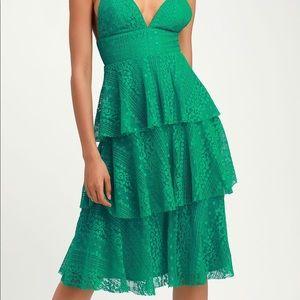 Endless Romance Green Lace Ruffled Midi Dress